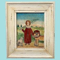 "Jack Savitsky, ""Lion and Lamb"", 1974, Outsider Art Oil Painting"