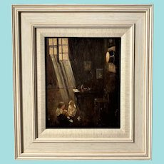 Interior, Children Playing in Sunlight Oil Painting