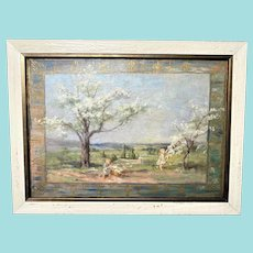 Ida J Burgess, Children Gathering Flowered Boughs, Oil Painting