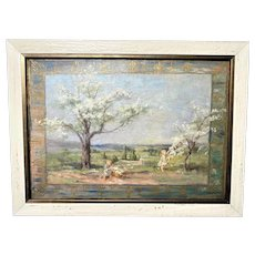 Ida J Burgess, Children Gathering Flowered Boughs, Oil Painting