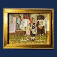 "John Michael Carter, ""Laundress"" Oil Painting"