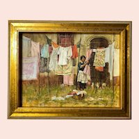 "John Michael Carter, ""Laundress"" Oil Painting"