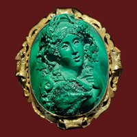Antique Victorian Full Front Malachite Cameo Bacchante circa 1860 Brooch and Pendant