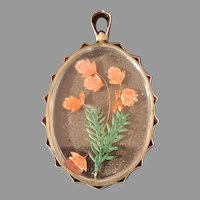 Antique Victorian 9ct Gold Dry Flowers Encased in Glass Pendant/Locket