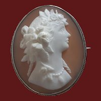 Antique Shell Cameo of Goddess Flora in Sterling Silver Brooch Pin