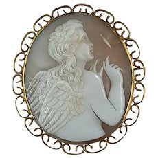 Antique Shell Cameo Brooch Of Angel with A Butterfly 9ct Gold Frame