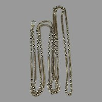 """Antique Victorian 9ct Gold 38.9 g Long Guard Muff Chain Dog Clip 60"""" Length"""