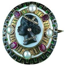 Antique Russian Empire Habile Cameo Brooch Of Moor Princess