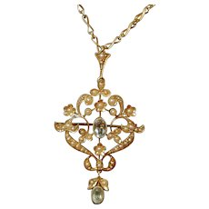 Antique Victorian 15ct Solid Gold Pendant Brooch Aquamarine and Seed Pearls