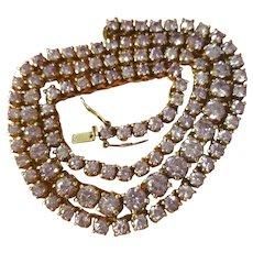Vintage Light Amethyst Rhinestones in Sterling Silver Necklace Art Deco