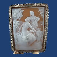 Vintage Hand Carved Shell Cameo of Leda and the Swan Brooch and Pendant