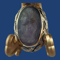 Antique Victorian Natural Amethyst Left-Facing Cameo in 14K Gold Frame Brooch Pendant