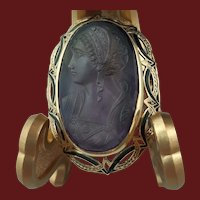 Antique Victorian Natural Amethyst Left-Facing Cameo in 14K Gold Frame Brooch Pendant