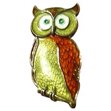 Vintage Signed Opro Figural Owl Brooch Pin Sterling Silver Guilloche Enamel Norway