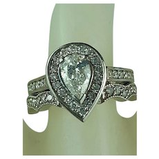 Estate Platinum Engagement and Wedding Ring 1/2 ct VS1 clarity E-F color Pear Diamond Hallmarked