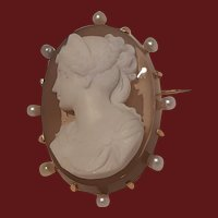 Antique Victorian Agate Hard Stone Left Facing Cameo in Pink Gold Frame with Pearls