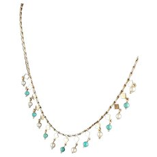 Art Deco 9Kt Pink/Rose Gold  Necklace with Pearls and Turquoise Bead Drops 16""