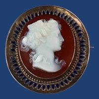 Antique Hard Stone Cameo of Goddess Nike Etruscan Revival 9Kt Gold Brooch/Pendant