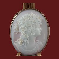 Antique Hard Stone Cameo of Bacchante 14K Gold Frame