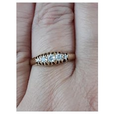 Edwardian Antique Five Stone Diamond Ring Gypsy Setting 18ct Gold