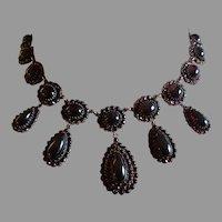Victorian Bohemian Garnet Necklace Choker Huge Drops In Sterling Silver