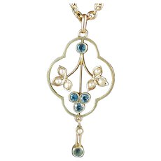 Antique Edwardian Necklace with Aquamarines and Seed Pearls 9ct Gold 16.5""