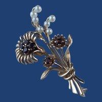 Vintage Retro Flower Brooch Garnets and Pearls 9k Gold