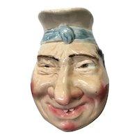Charming Sarreguemines French Majolica Character jug