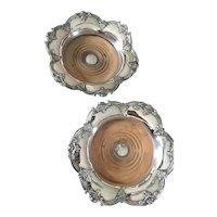 Elegant pair of Antique Sheffield Wine Coasters ( Silverplate)