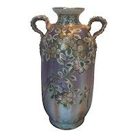Wonderful Hand Painted Nippon Vase  (green leaf mark)