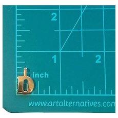 18k Solid Gold Initial D Charm or Pendant; Letter D Pendant