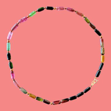 19-Inch Tourmaline Strand Bead Necklace With Solid 18k Gold Beads and Clasp