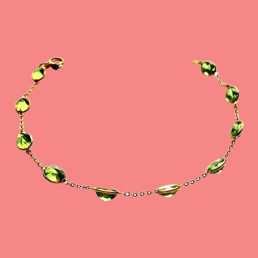 Df.  Vintage Solid 18k Gold Adjustable Chain Link Bracelet With Peridot Stations