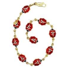 Vintage Italian 14k Solid Gold and Enamel Ladybug Link Bracelet