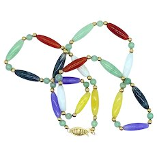 16 Inch Multi-Color Jadite Beaded Necklace With 14K Solid Gold Clasp and Accent Beads