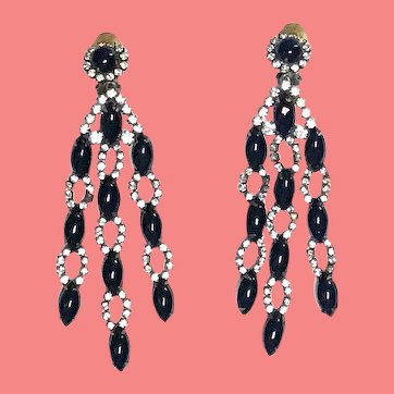 1960s Kenneth Jay Lane Black and Rhinestone Chandelier Earrings