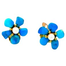 Swoboda Turquoise and Cultured Freshwater Pearl Flower Clip-On Earrings
