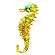 Swoboda Signed Peridot and Turquoise Seahorse Brooch