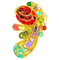 Swoboda Signed Fish Brooch With Cultured Freshwater Pearls, Turquoise, Amethyst, Peridot, Citrine and Quartz