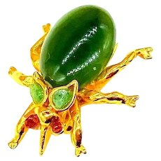 Swoboda Signed Beetle Brooch With Jade and Pink Tourmaline