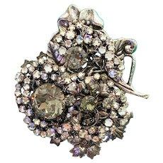 Miriam Haskell Silver Tone Rhinestone Floral Brooch