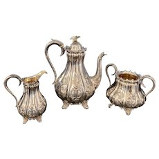 Antique Creswick & Co. Sterling Silver Three-Piece Coffee Set from 1863