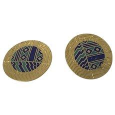 Round Enameled Southwestern Design Clip Earrings