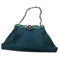 Vintage Silk Blue Handbag