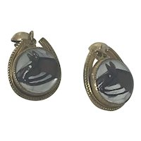 Vintage Gold Plated Reverse Carved Painted Glass Horse Earrings