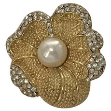 Costume Monet Faux Pearl and Crystal Pin