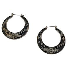 Art Deco Style Black Enamel Hoop Earrings