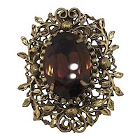 Vintage Gold Plated, Oval Orange Stone Pendant and Pin