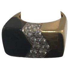 18k Yellow Gold Onyx Pave Ring