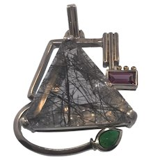 Artisan Sterling Silver Rutilated Quartz Pendant